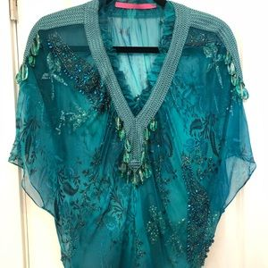 Emanuel Ungare turquoise blouse/ embroided jewels